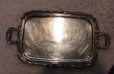 "Large Ornate Silver Butler's Serving Tray 24"" Rectangular Oneida Silversmiths"