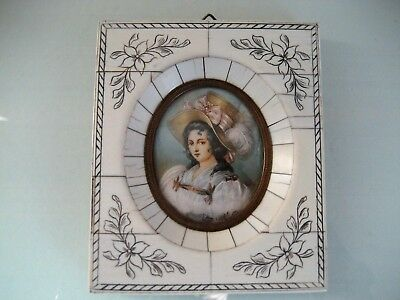 Antique French Hand Painted Miniature Portrait In Bone Panel Frame
