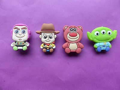 4 Toy Story Buzz Woody babies jibbitz crocs loom band shoe charms cake toppers