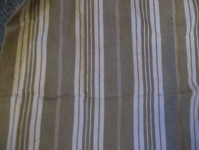 Vintage French Mattress Ticking Pale Coffee/White Stripes