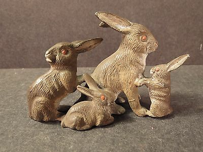 Vintage Heyde group of rabbits, mom and 3 bunnies