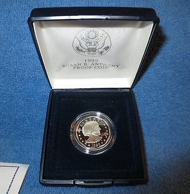 1999-P U.S. Mint Proof Cameo Susan B. Anthony dollar. All original packaging.