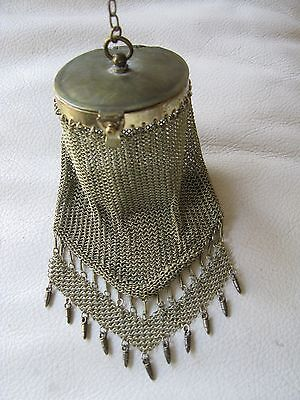 Antique Victorian Art Deco Gold Tone Round Frame Fancy Fringe Mesh Coin Purse