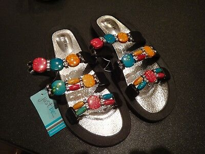 Just Be Women's Beaded Sandals Black/Red/Blue/Orange Multi-Color Size 8 BN