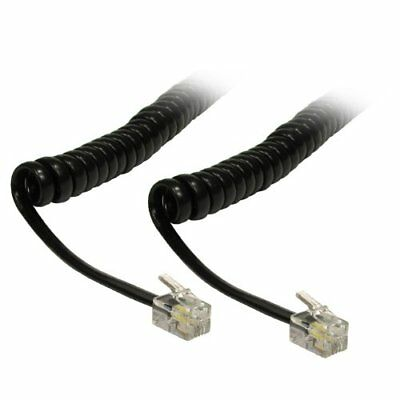 CDL Micro 5 m Uncoiled/90 cm Coiled Curly Telephone Handset RJ10 Lead Wire Cable