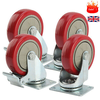 Set of Heavy Duty 100mm Rubber Swivel Castor Wheels Trolley Caster Brake 600KG