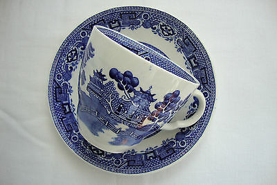 A Lovely  Vintage  Ridgway  Flow Blue Old Willow Tea Cup & Saucer