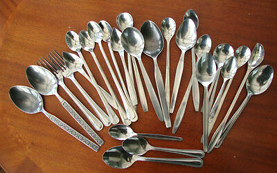 Vintage Retro Stainless Steel Mixed Lot Cutlery Dessert Spoons & Forks  Etc