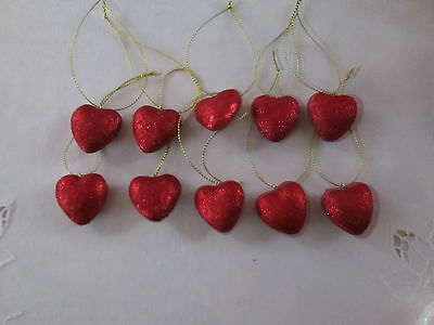 """Pkg of 10- Miniature 1"""" Red Glitter Heart Valentines Day Ornaments,  NEW"""