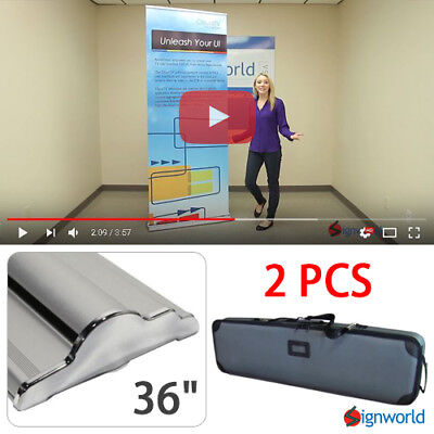 "Retractable Roll Up Banner Stand Height Adjustable Display Sign HD 36"" 2 PCS"