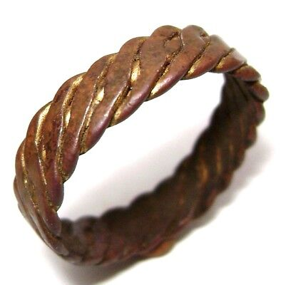 Ancient Post Medieval Twisted bronze ring.
