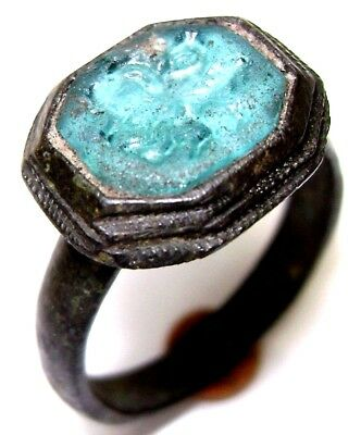 "Ancient Medieval bronze ring seal with blue stone. (GEM, GLASS) ""Horseman"""