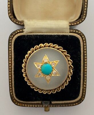 A Stunning Rock Crystal, Turquoise & Old Cut Diamond Ring Circa 1800's