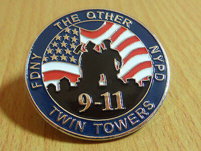 Memorial Pin- FDNY & NYPD - The Other Twin Towers - 9-11 - WTC
