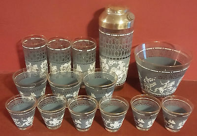Vintage Blue and White~Hazel Atlas 1950's Bar Set~15 Pieces