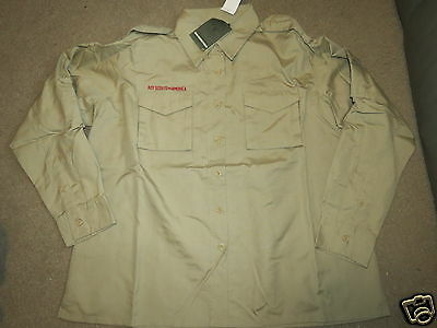 NEW NWT Boy Scout long-slv Poplin Uniform tan / khaki shirt - womens 38-40