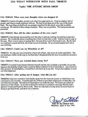 Paul Tibbets Answers Questions About the Hiroshima Bombing - Incredible Document