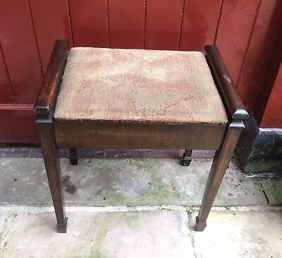 Lovely antique vintage Edwardian Wilson Peck piano stool with underseat storage