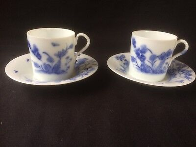 antique porcelain. set of 2 little cups and saucers with Rabbits .Saucers marked