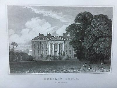 1831 Antique Print; Hursley House, near Winchester, Hampshire after Neale