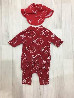 M&S Baby Girls Sunsuit Sun Suit 0-3 Months + Sun Hat UPF40+ Red Fish Design Beac