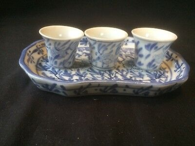 Antique Chinese porcelain Plate with 3 little cups.