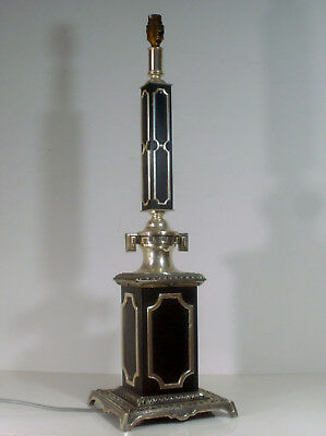 TALL ANTIQUE SILVER PLATED AND BLACK TABLE LAMP BASE CA. 1910/20s  700 mm /28""