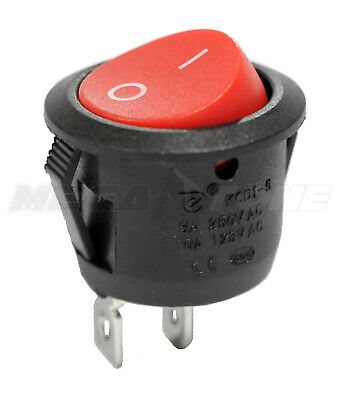 SPST KCD1 On-Off Round Mini Rocker Switch w/Red Actuator 6A/250VAC USA SELLER!!!