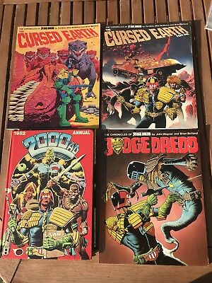 The Chronicles of Judge Dredd x3 + 2000AD 1982 annual- good condition unclipped