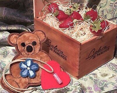 Kaylee Cosplay Set - Cigar Box of Strawberries, Bear Patch Set, Pink Necklace