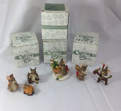 Charming Tails Fitz and Floyd Christmas Lot of 4 Nativity Mice Figures Ornament