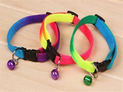 2x Fancy Rainbow Collar With Small Bell for Pet Cat Dog Adjustable Collar j1C