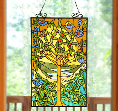 Suncatcher Window Panel Tiffany Style Yellow 'Tree of Life' Stained Glass 32in