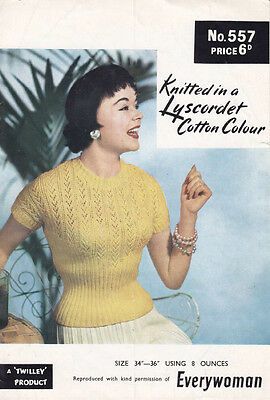 VINTAGE KNITTING PATTERN COPY-LADIES LACY TOP COTTON KNITTED -1950's