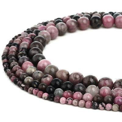 RUBYCA Rhodonite Gemstone Round Loose Beads Semi-Precious Stone Jewelry Making