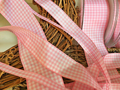 ~Bows Ribbon and Lace~Berisfords UK Gingham Ribbon Shade 57 Rose Pink