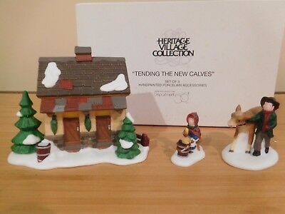 Dept 56 Dickens Village - Tending The New Calves - 3 Pc - NIB