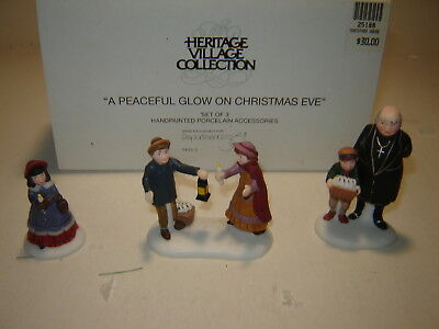 Dept 56 Dickens Village - A Peaceful Glow On Xmas Eve - Set of 3