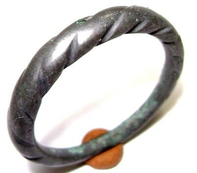 Ancient alloy Pseudo-twisted Viking bronze ring.