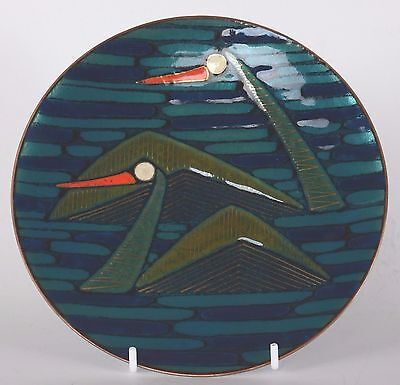 Patricia Fisher Enamel Plate Two Loons 1958 Mid Century Modern Eames Era