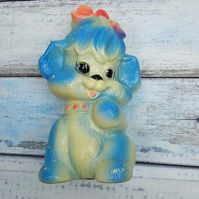 Vtg 1973 Russ Berrie Dog Coin Bank Blue & Hot Pink Puppy Dog With Bottom Plug
