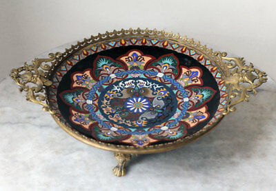 SUPERB 1900s antique JAPAN cloisonné plate with French Art Nouveau fitting