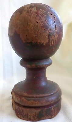 ANTIQUE Country PRIMITIVE Wood NEWEL POST #6 ORIGINAL red PAINT