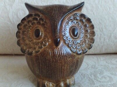 Vintage Owl Bank Brown Textured Pottery 5 inches high