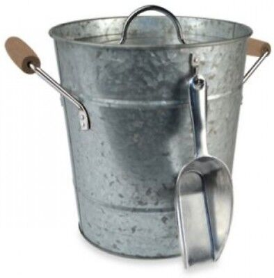 Galvanized Steel Ice Bucket with Scoop Rustic Country Chic
