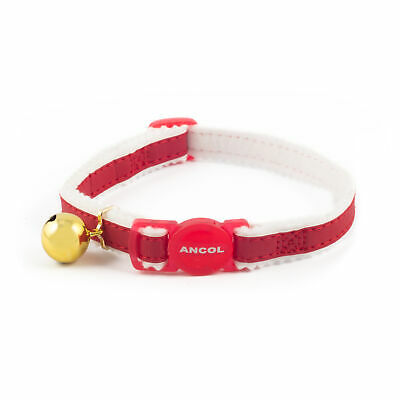 Ancol Cat Kitten Elasticated Reflective Safety Buckle Warning Bell Collar