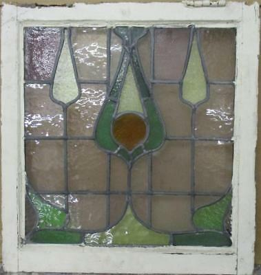 "OLD ENGLISH LEADED STAINED GLASS WINDOW Gorgeous Abstract 21"" x 22.5"""