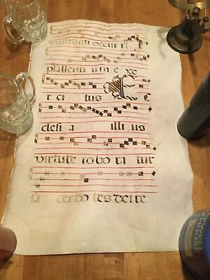 Antique Antiphonal Vellum Latin Music Sheet, Double Sided 23 X 15 Inches