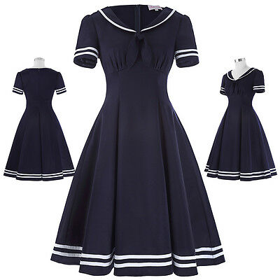 40s 50s Vintage Short Sleeve Lapel Collar Sailor Swing Cocktail Club Prom Dress