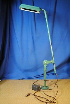 "Vtg Industrial Articulated Arm Dual 6"" Black Light Lab Work Lamp Fluorescent"